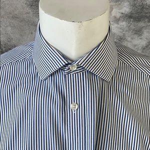 Michael Kors pinstriped blue white shirt slim 16
